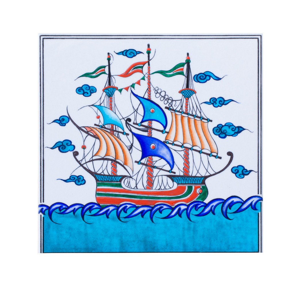 Tile with boat figure ;;25 - TILE & PANELS
