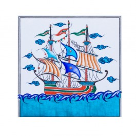 TILE & PANELS Tile with boat figure ;;25