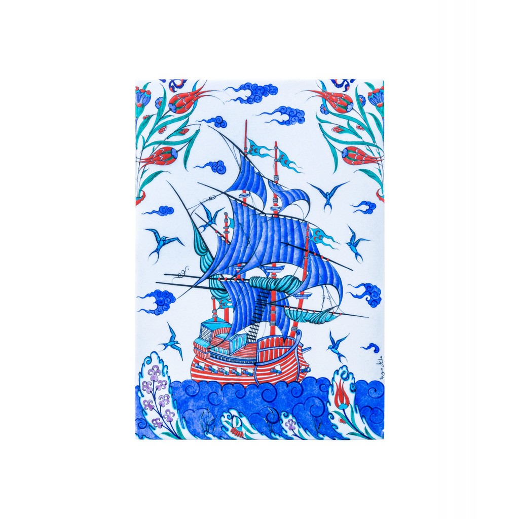 Tile with boat figure ;44;30 - TILE & PANELS