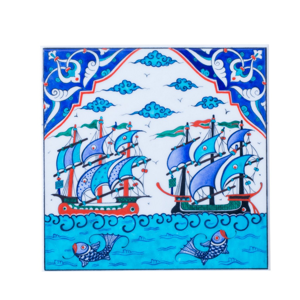 Tile with boats and fishes ;;25 - TILE & PANELS