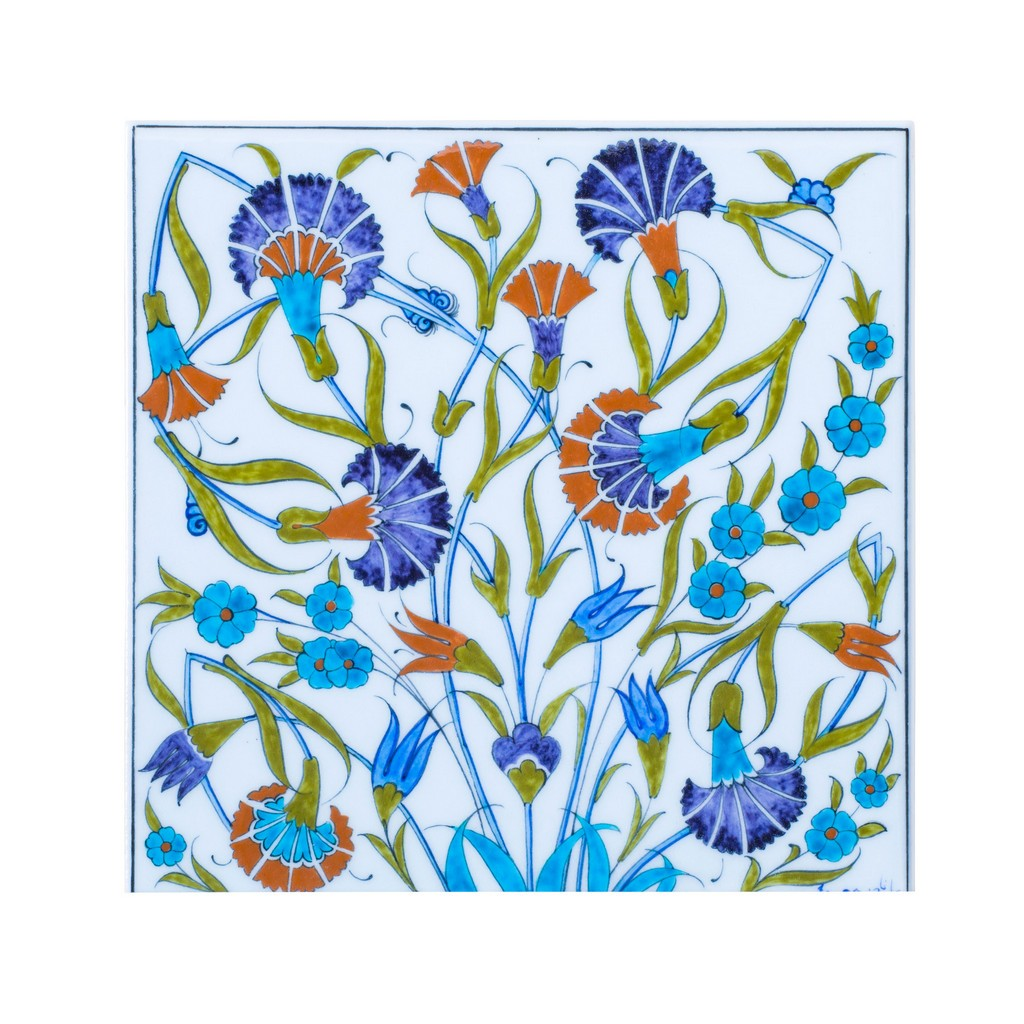 Tile with carnation flowers ;;25 - FLORAL
