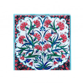 FLORAL Tile with carnations and saz leaves ;;20/25