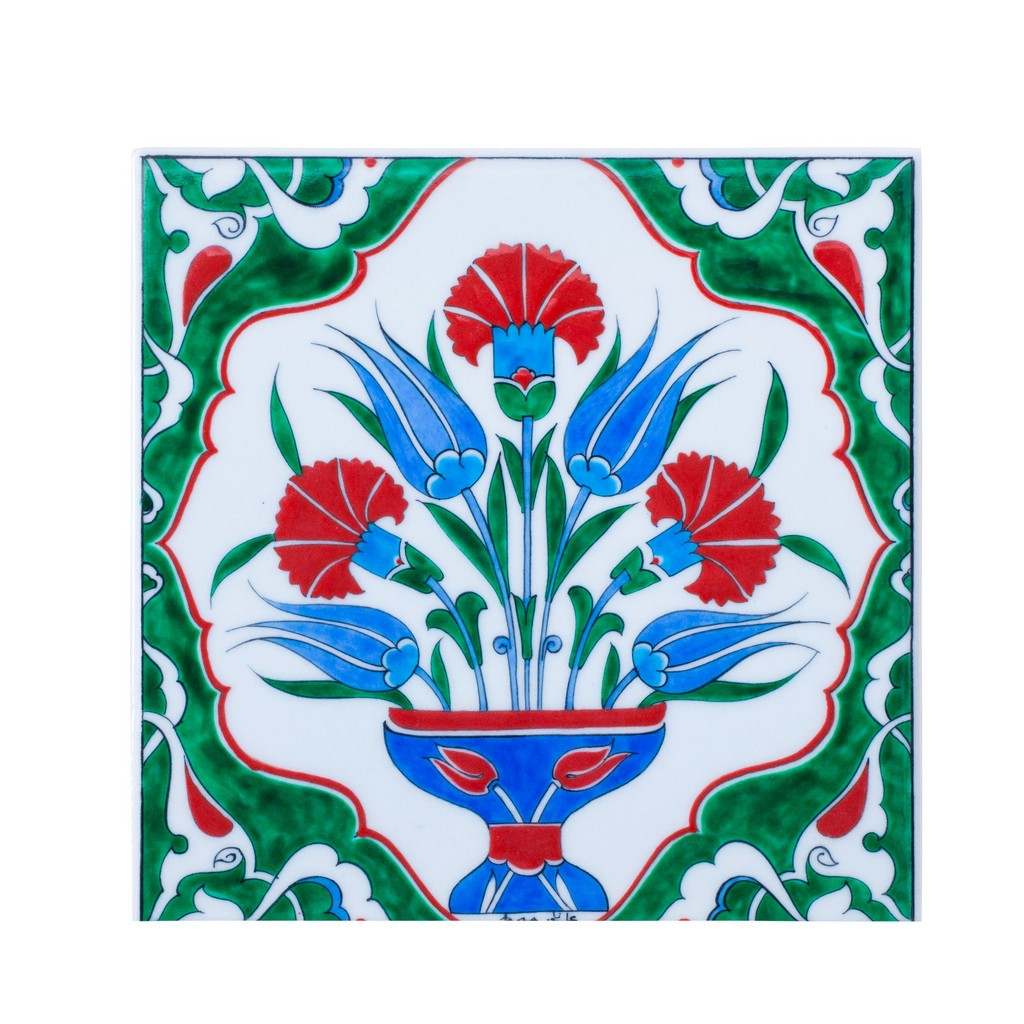 Tile with central flower composition ;;25 - TILE & PANELS