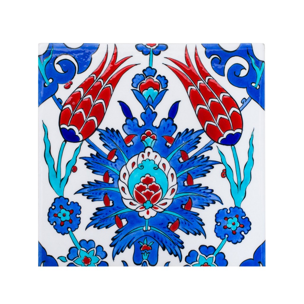 Tile with central flower composition ;;25 - FLORAL