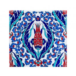 FLORAL Tile with central flower composition ;;25