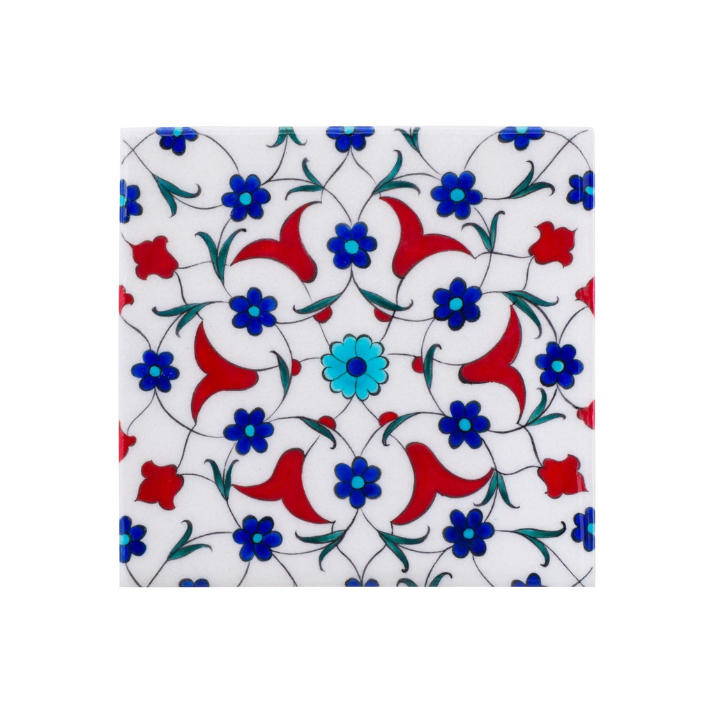Tile with central geometrical flower composition ;;20/25 - TILE & PANELS