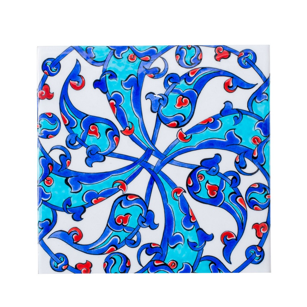 Tile with central rumi motif ;;25 - FLORAL