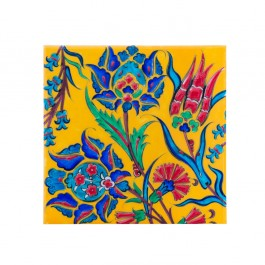ARTIST Saim Kolhan Tile with contemporary floral composition ;;20/25