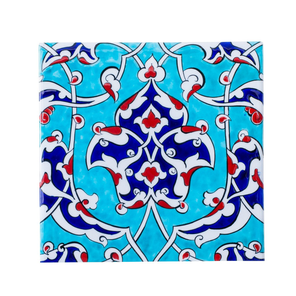 Tile with damasque and rumi pattern ;;25 - FLORAL