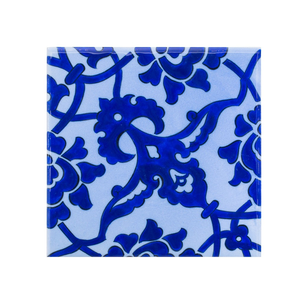 Tile with damasque pattern ;;23.5/20/25 - BLUE & WHITE