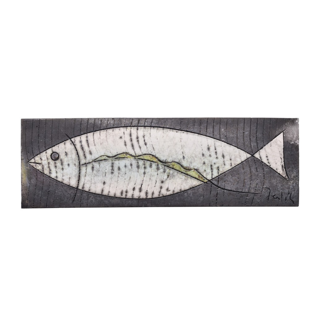 Tile with fish in contemporary style ;; - FIGURE & FIGURINE