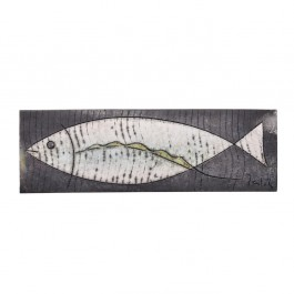 RAKU Tile with fish in contemporary style ;;