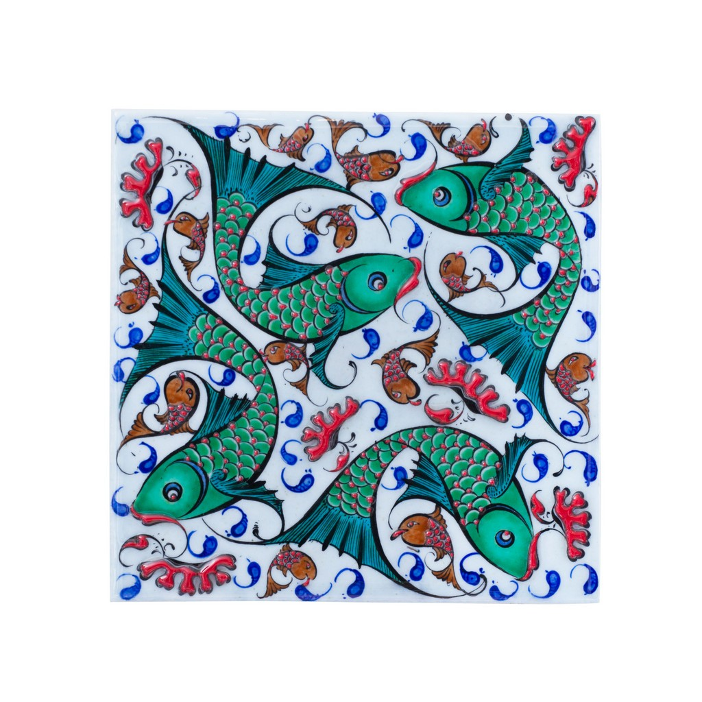 Tile with fishes ;;20/25 - FIGURE & FIGURINE