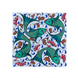 FIGURE & FIGURINE Tile with fishes ;;20/25