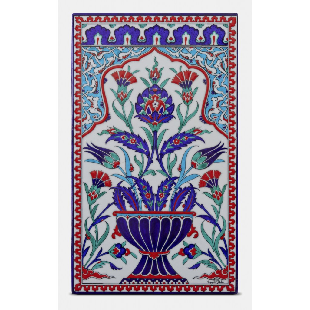 Tile with floral pattern ;47;28;;; - FLORAL