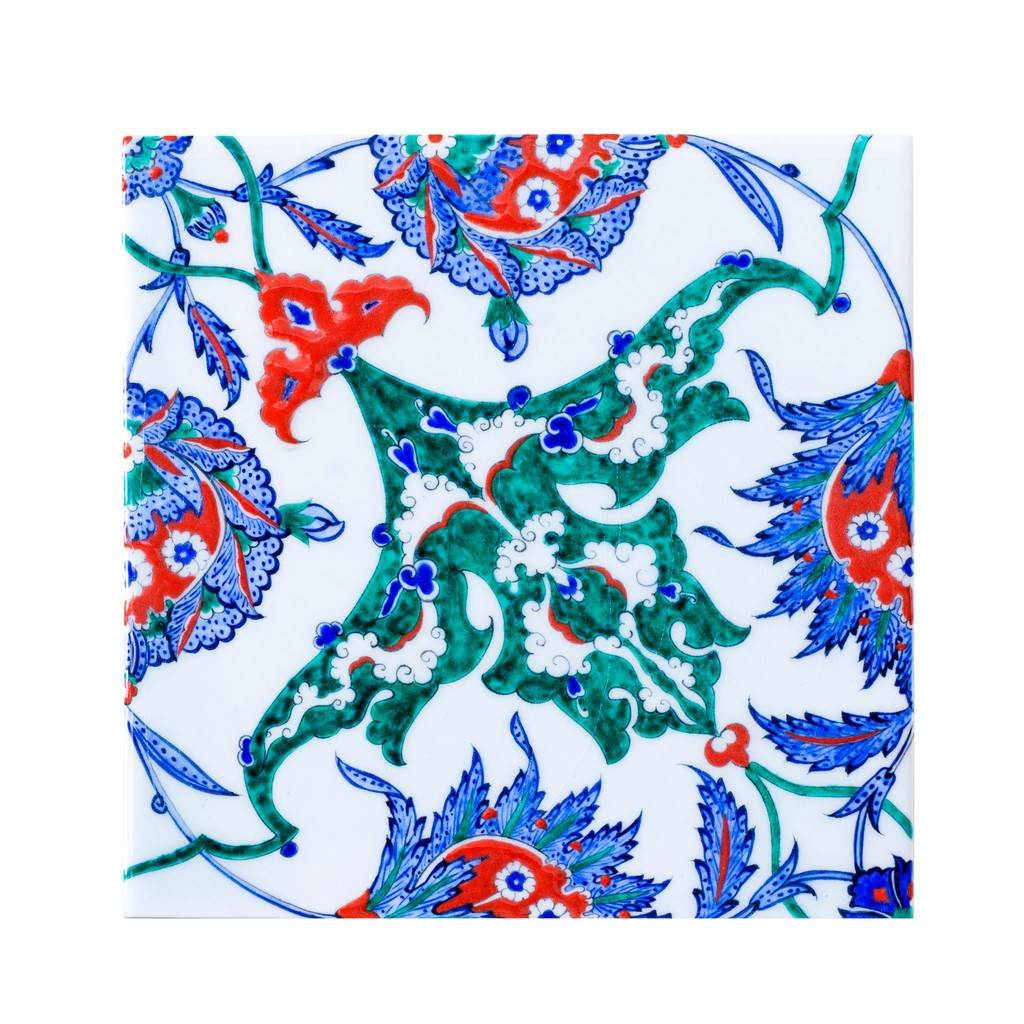 Tile with hatais and rumis ;;25 - FLORAL