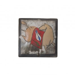 RAKU Tile with horse figure ;;