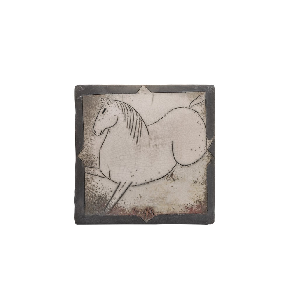 Tile with horse figure ;; - FIGURE & FIGURINE