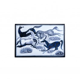 BLACK & WHITE Tile with horse figures ;44;30