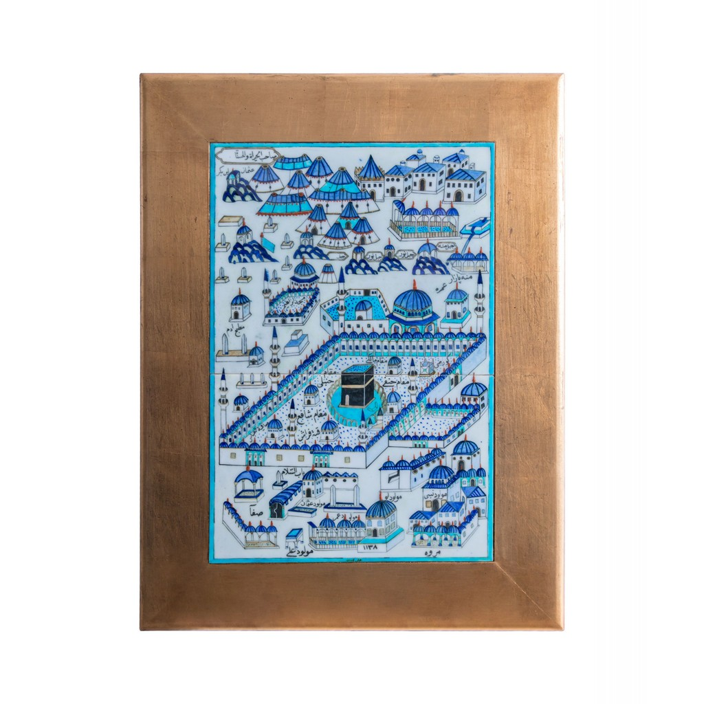 Tile with Kaaba miniature and gold frame Tile;62;42;Frame;82;62 - TILE & PANELS