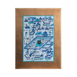 TILE & PANELS Tile with Kaaba miniature and gold frame Tile;62;42;Frame;82;62
