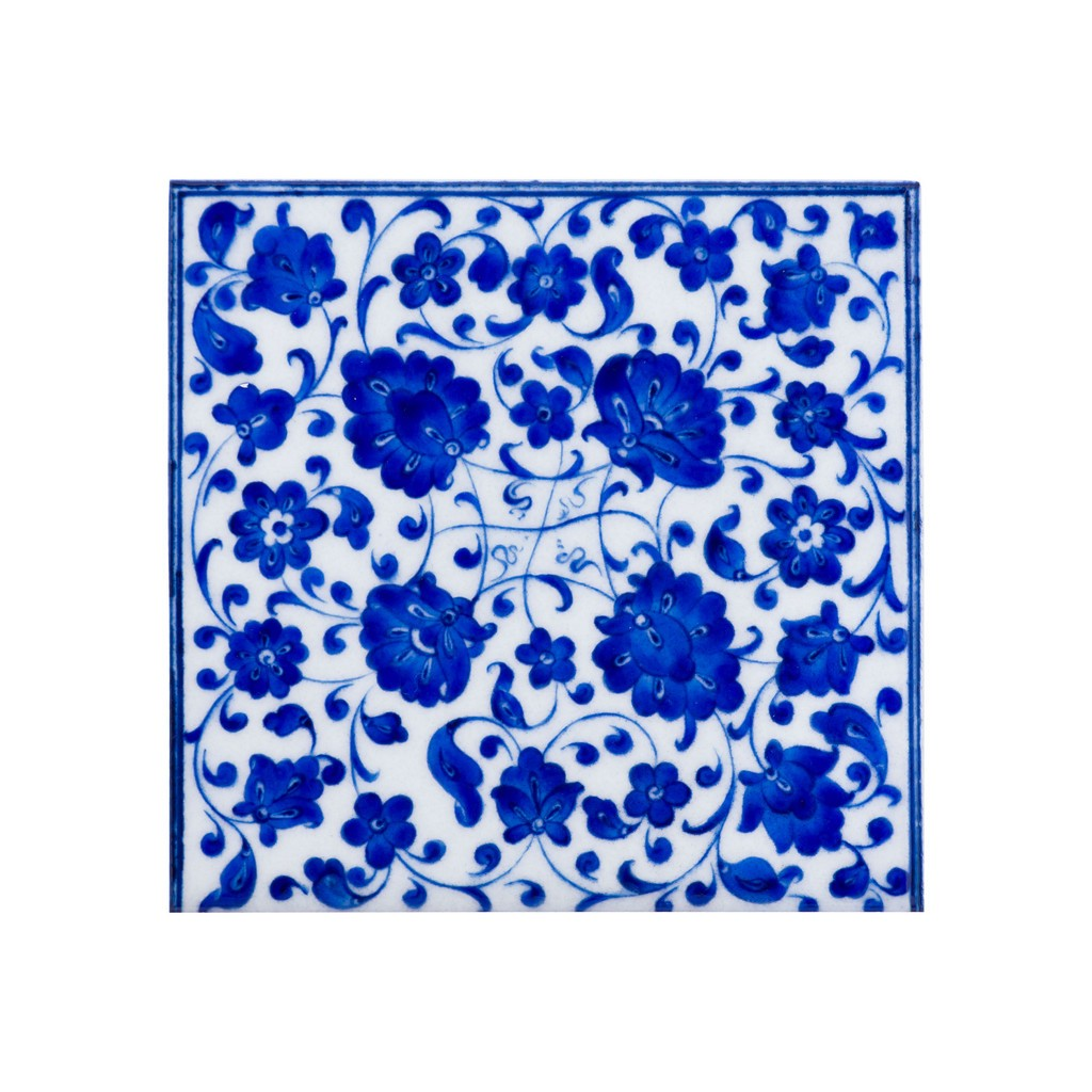 Tile with leaves and floral pattern ;;20/25 - FLORAL
