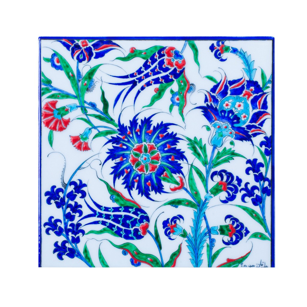 Tile with leaves and flowers ;;25 - FLORAL