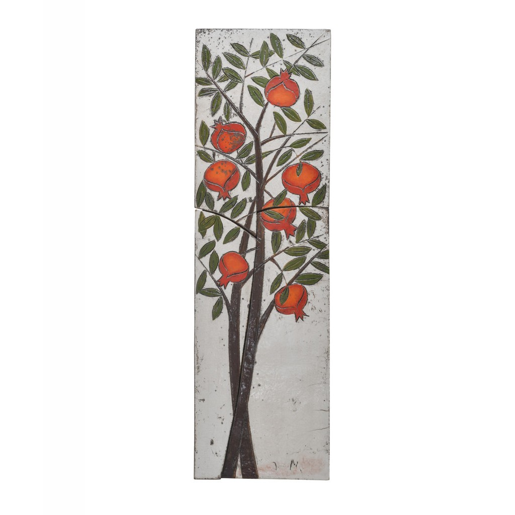 Tile with momegranate tree ;; - FLORAL