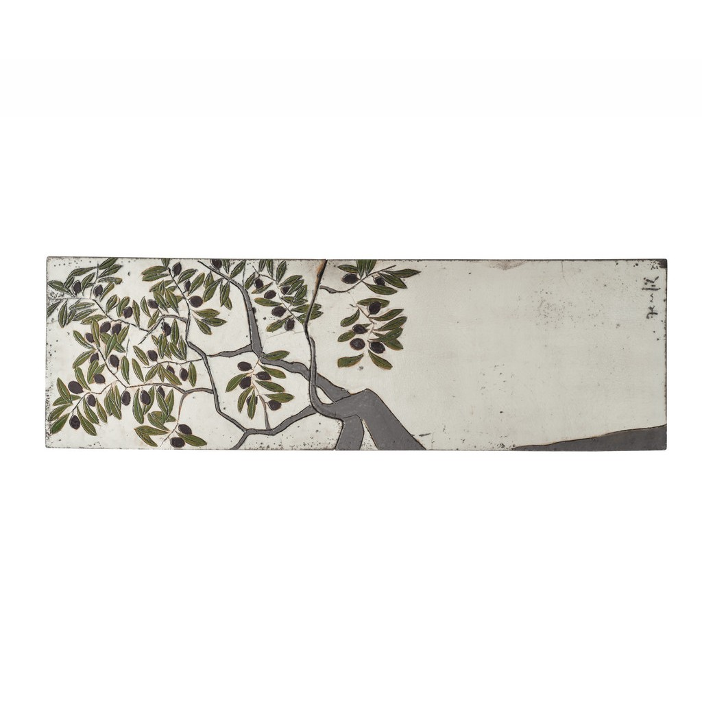 Tile with olive tree ;; - RAKU