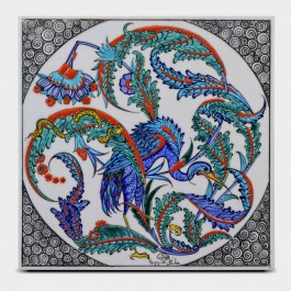 TILE & PANELS Tile with peacock and floral pattern ;25;25;;;