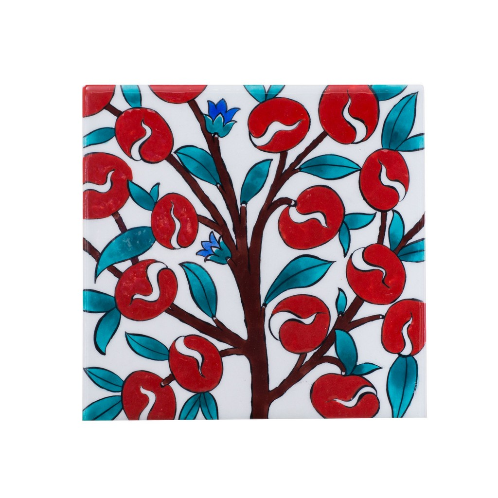 Tile with plum tree ;;20/25 - TILE & PANELS