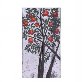 RAKU Tile with pomegranate tree ;68;37