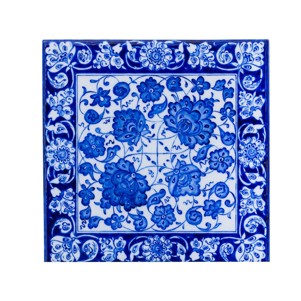 Tile with rumi and hatai pattern ;;25 - BLUE & WHITE