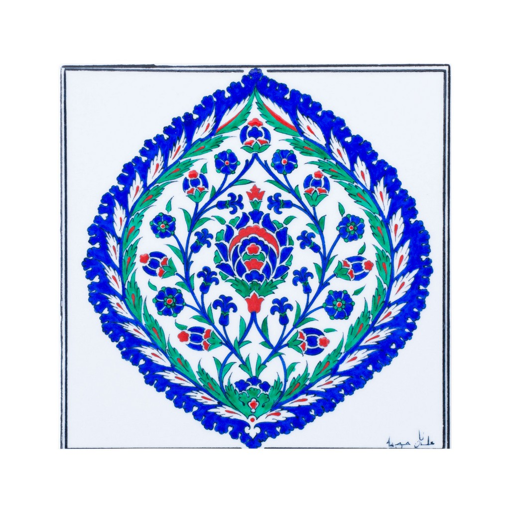 Tile with saz leaves and floral pattern ;;25 - FLORAL