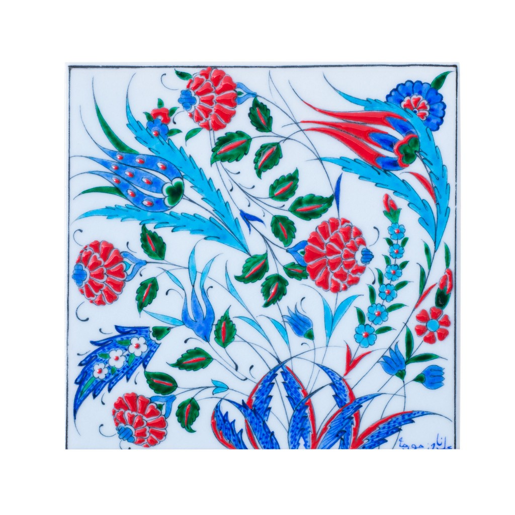 Tile with saz leaves and flowers ;;25 - FLORAL