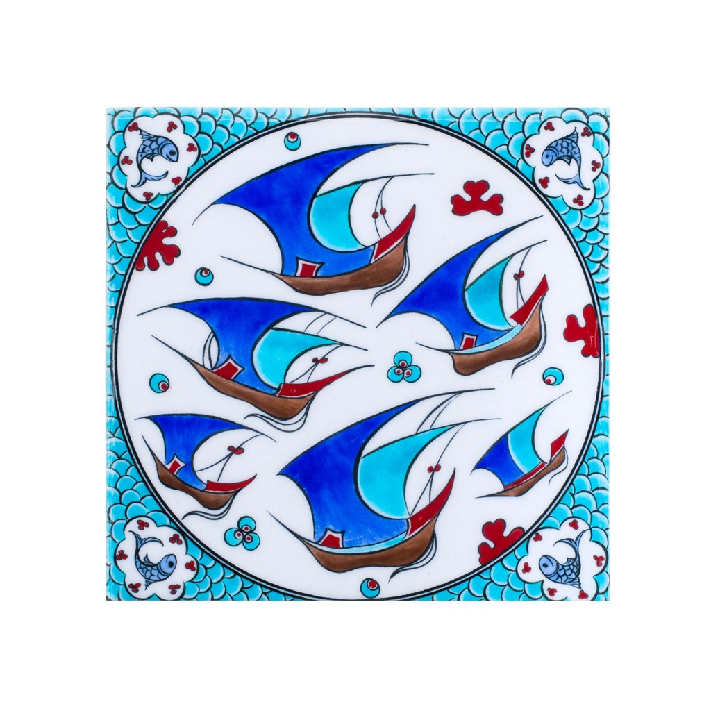 Tile with scattered boats pattern ;;25 - TILE & PANELS