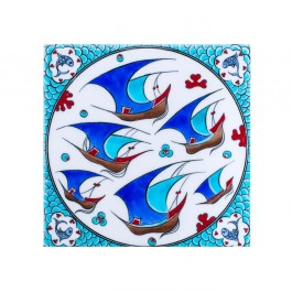 TILE & PANELS Tile with scattered boats pattern ;;25