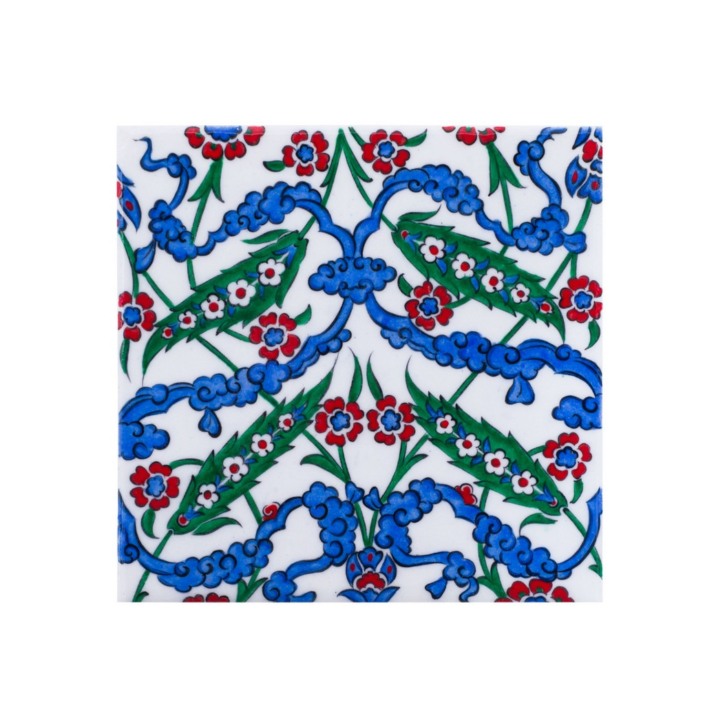 Tile with symetric floral composition ;;20/25 - FLORAL