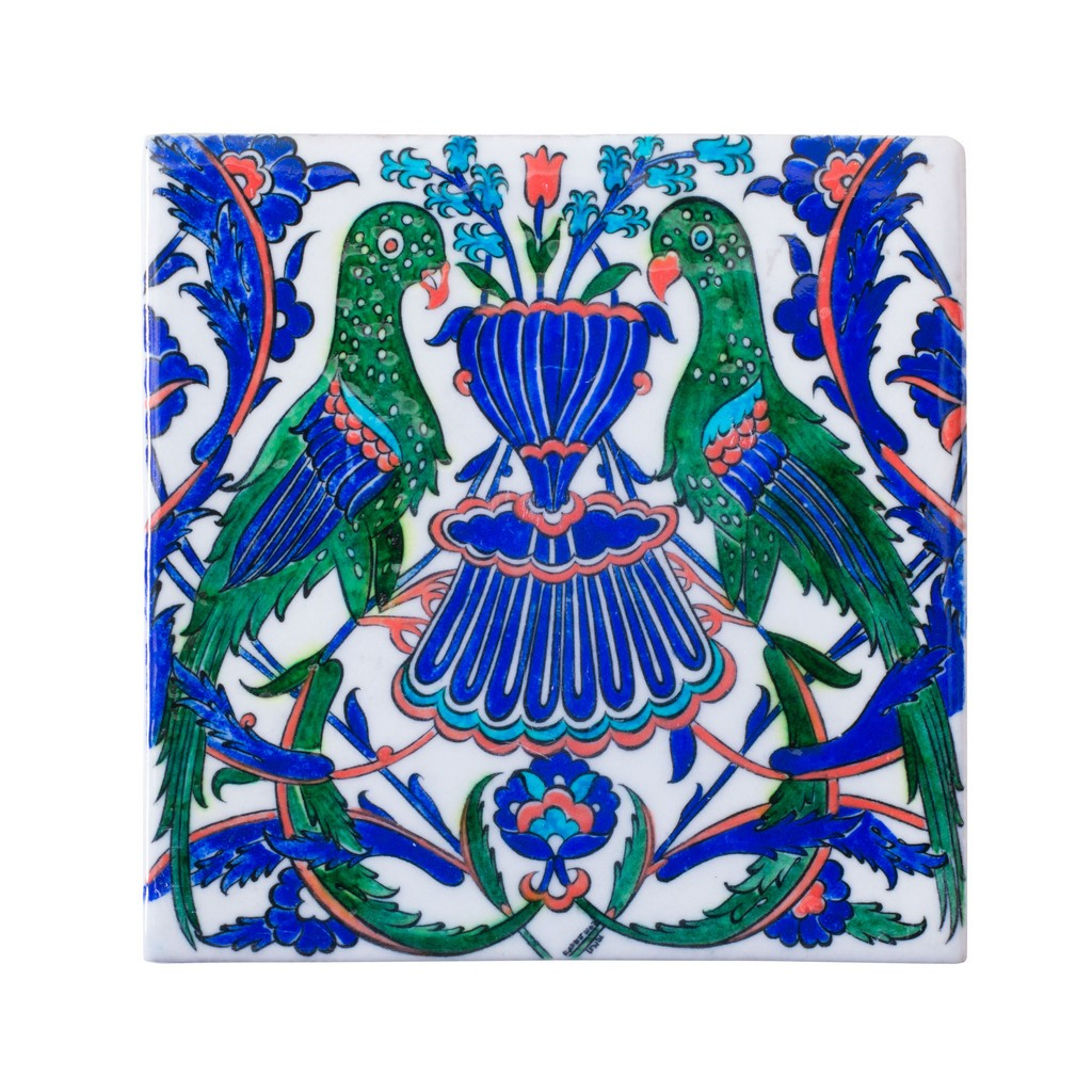 Tile with symmetrical bird composition ;;25 - FIGURE & FIGURINE
