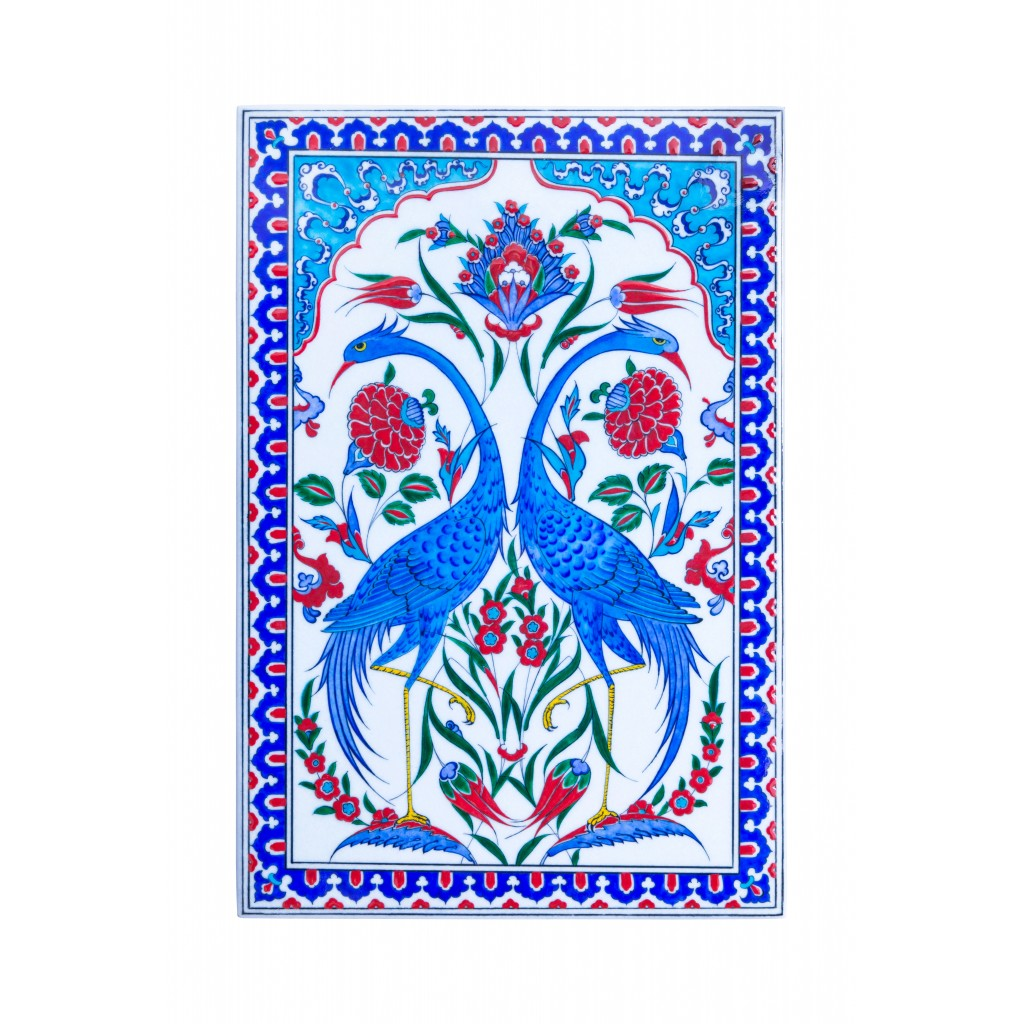 Tile with symmetrical bird composition ;48;33 - FLORAL
