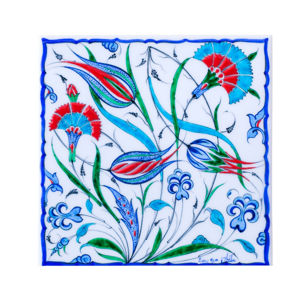 Tile with tulip and carnation flowers ;;25 - FLORAL