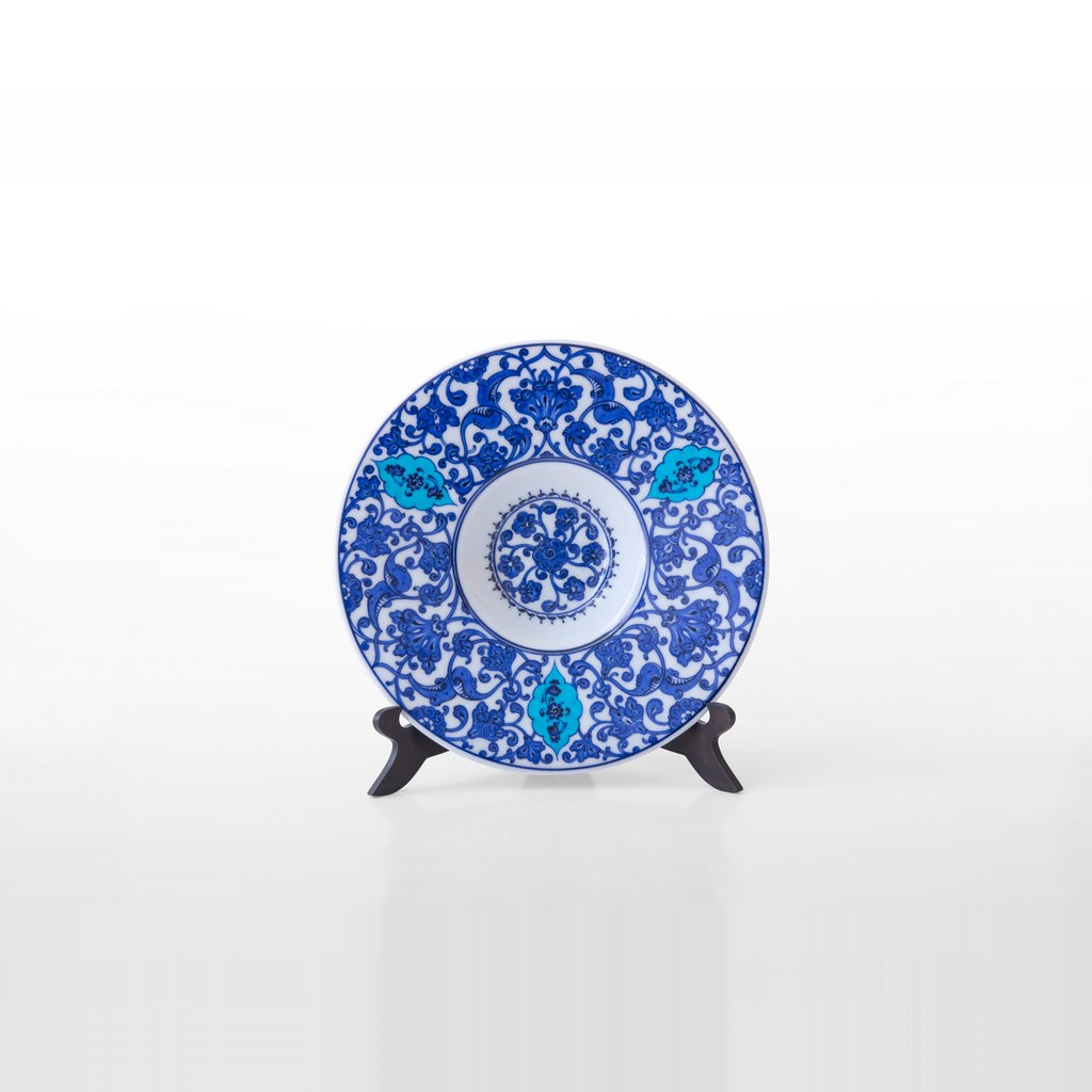Tondino plate with floral pattern ;;27 - BLUE & WHITE