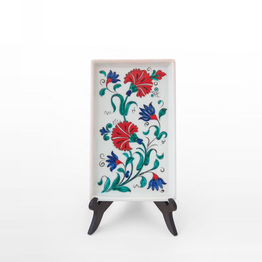 Tray with carnation flowers ;22;13 - ARTIST Meliha Coşkun