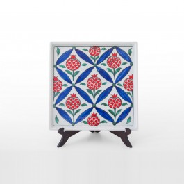 ARTIST Meliha Coşkun Tray with symetrical pomegranates ;26;