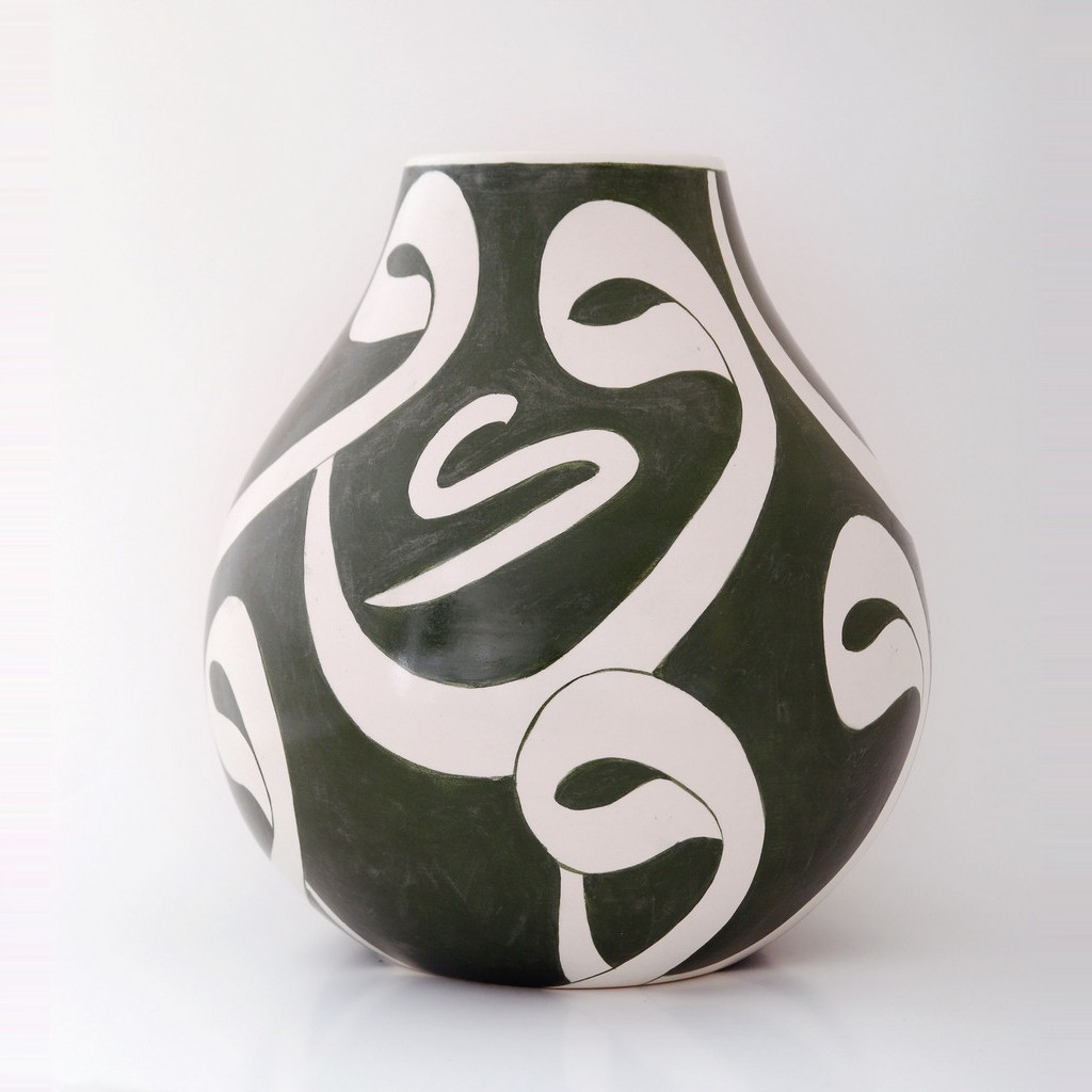 Vase with calligraphy in contemporary style ;32;28 - VASE