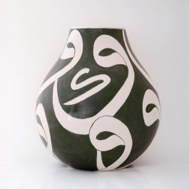 BLACK & WHITE Vase with calligraphy in contemporary style ;32;28