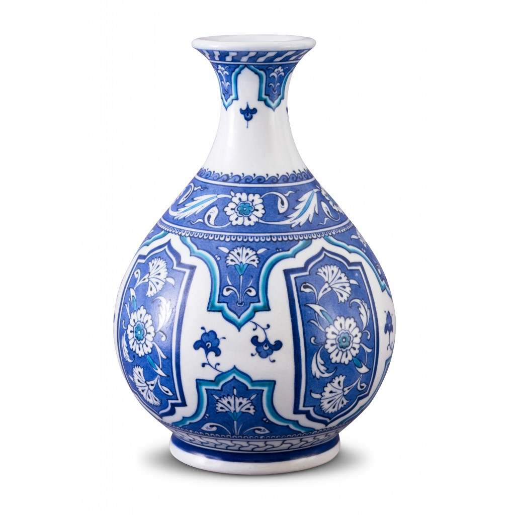 Vase with floral pattern ;27;15;;; - BLUE & WHITE