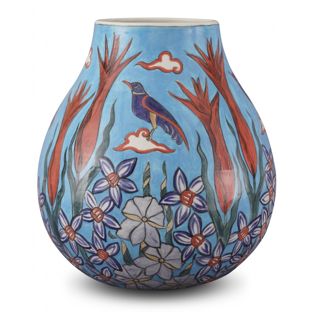 Vase with floral pattern ;32;26;;; - CONTEMPORARY