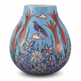 CONTEMPORARY Vase with floral pattern ;32;26;;;