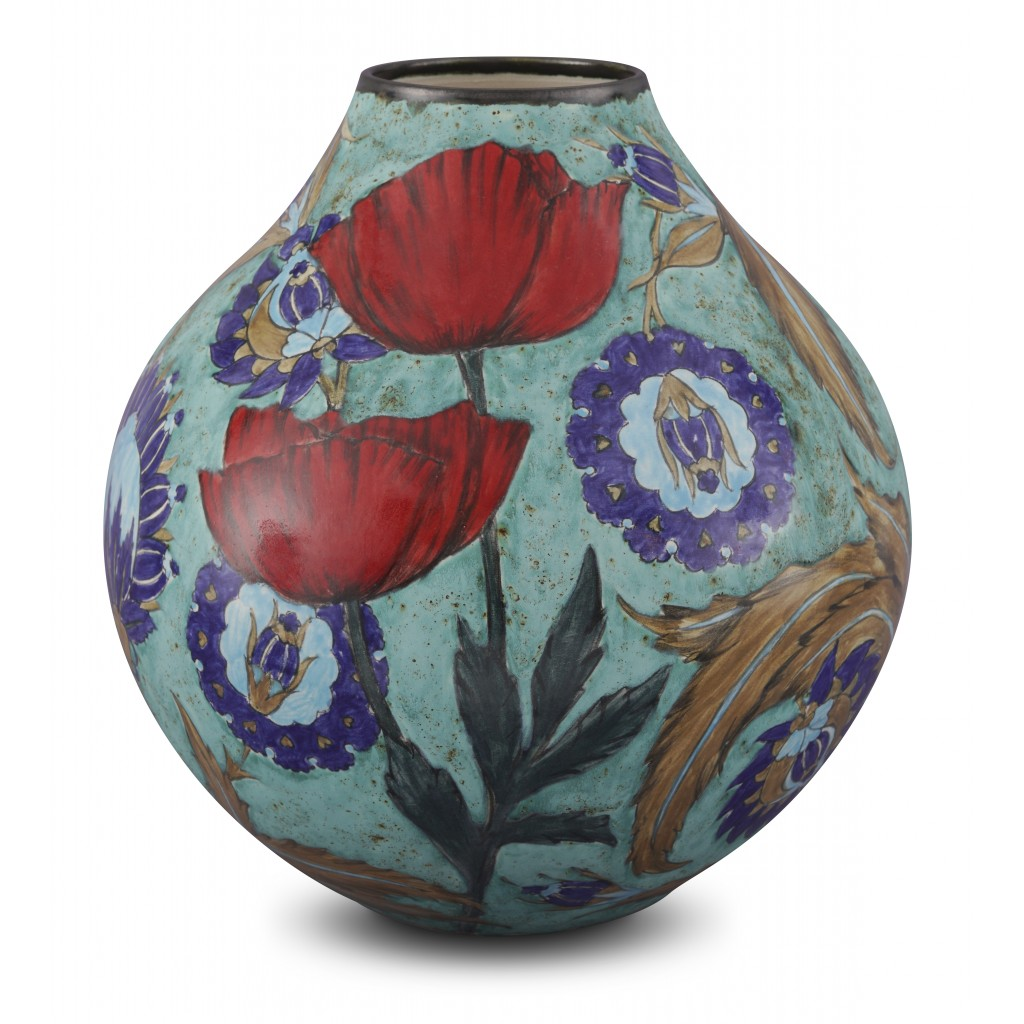 Vase with floral pattern ;32;27;;; - CONTEMPORARY